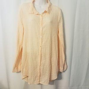 Calypso St. Barth Shirt Blouse Crushed Fabric SZ L